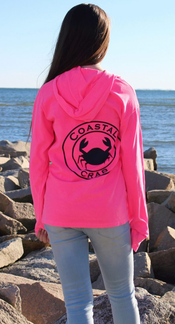 Adult Long Sleeve Hooded T-Shirt Pink with Navy