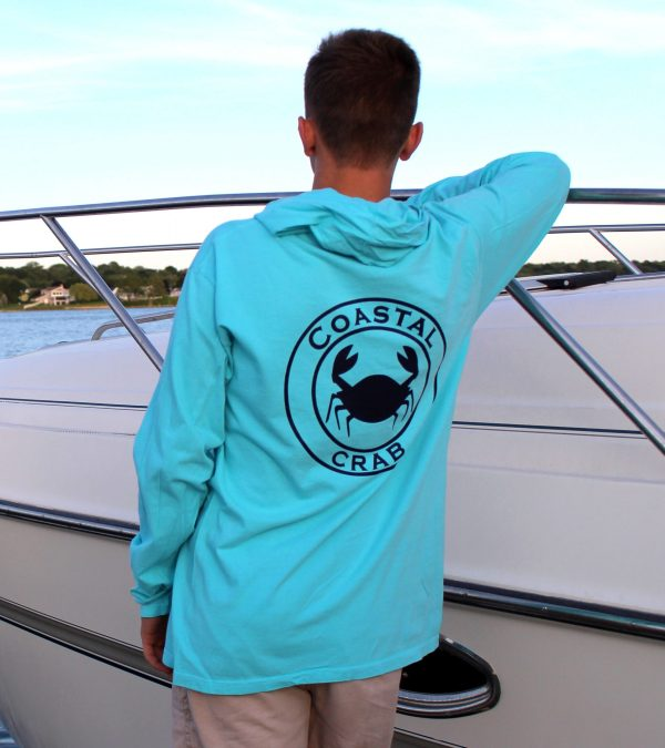 Adult Long Sleeve Hooded T-Shirt Turquoise with Navy