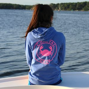 Adult Long Sleeve Hooded T-Shirt Periwinkle with Pink