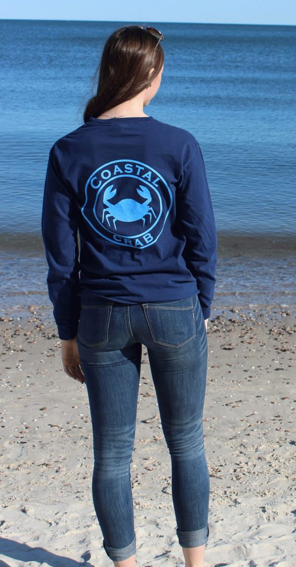 Adult Long Sleeve T-Shirt Navy with Light Blue Imprint