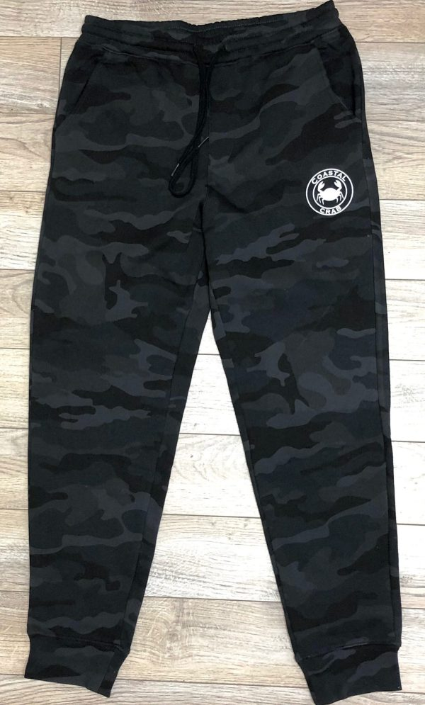 Adult Black Camo Joggers with white imprint