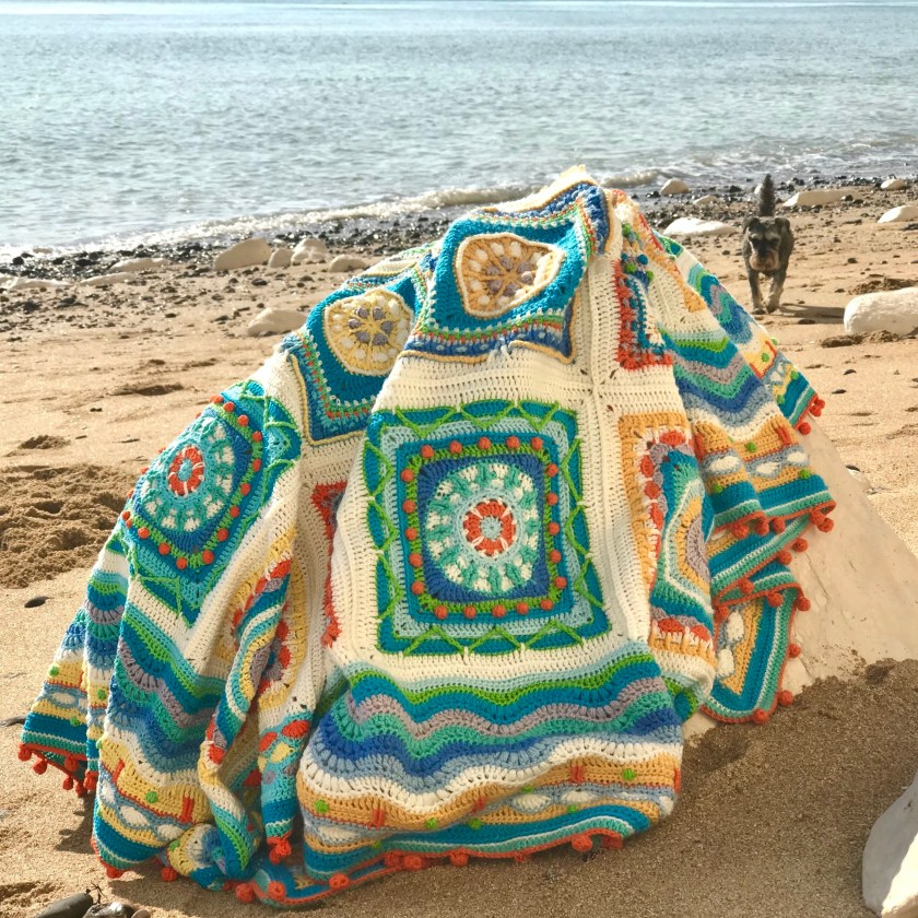 KESS InHouse Stephanie Vaeth Sailing Coastal Pattern Round Beach Towel Blanket