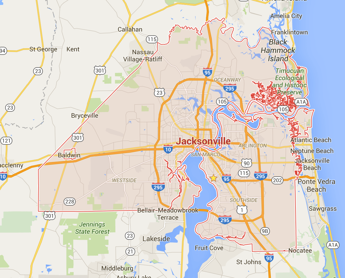 How Big Is Jacksonville Really The Coastal - Jacksonville map