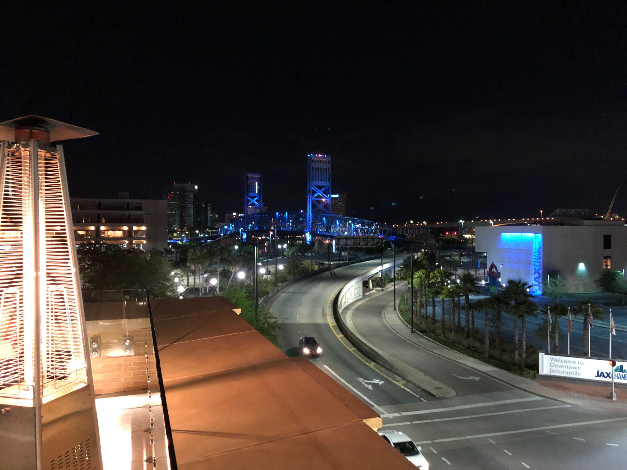 Rooftop view at Cowford Chophouse, Jacksonville, FL