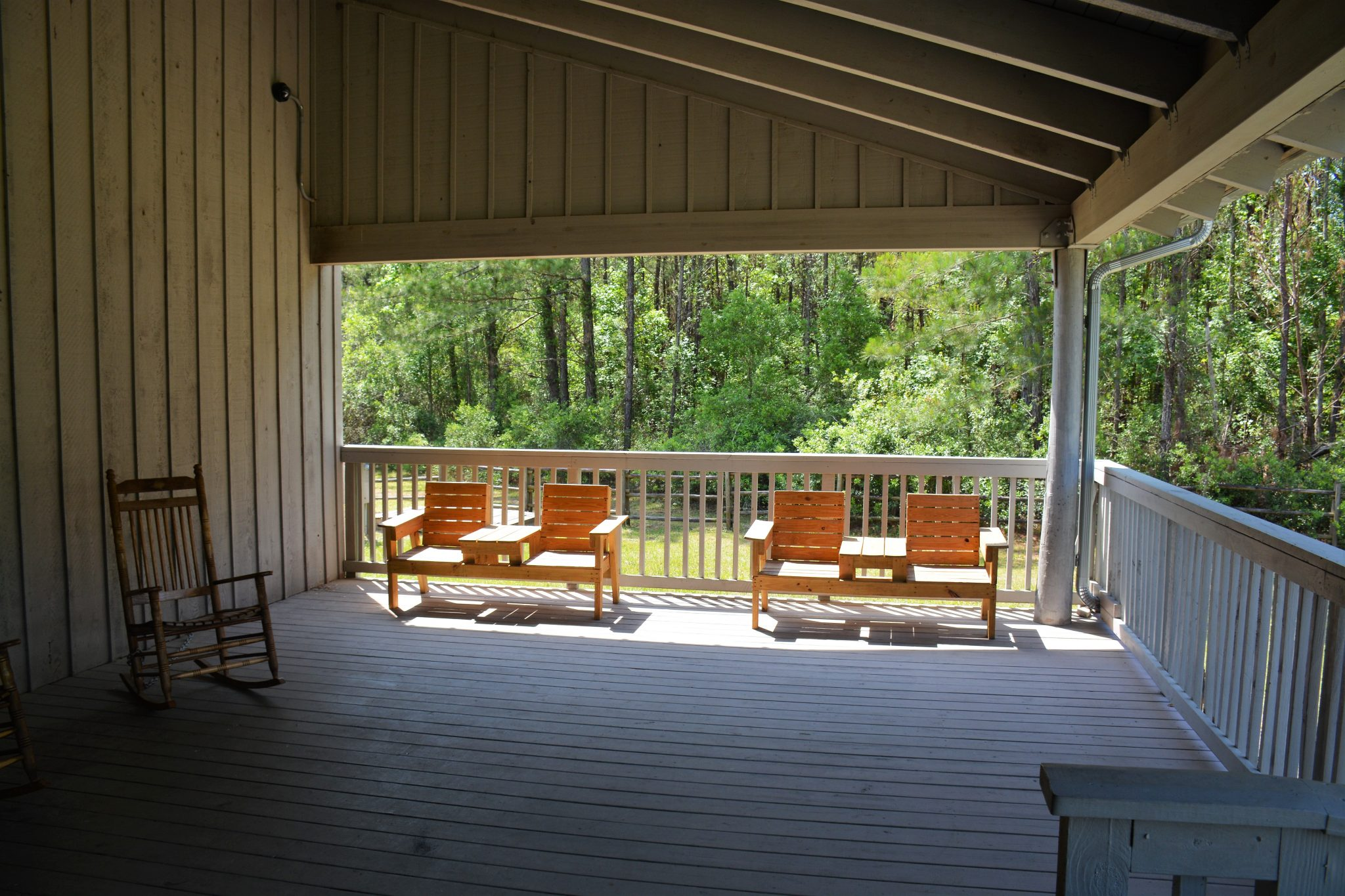 Front porch of Cracker house at Camp Milton