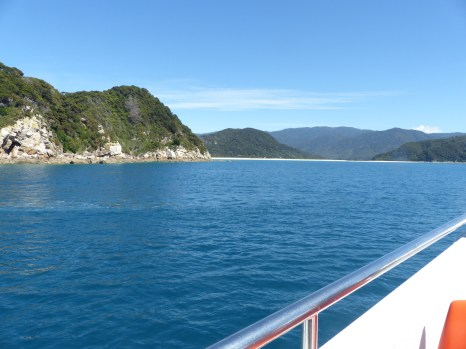 View of the coastline from the boat heading north