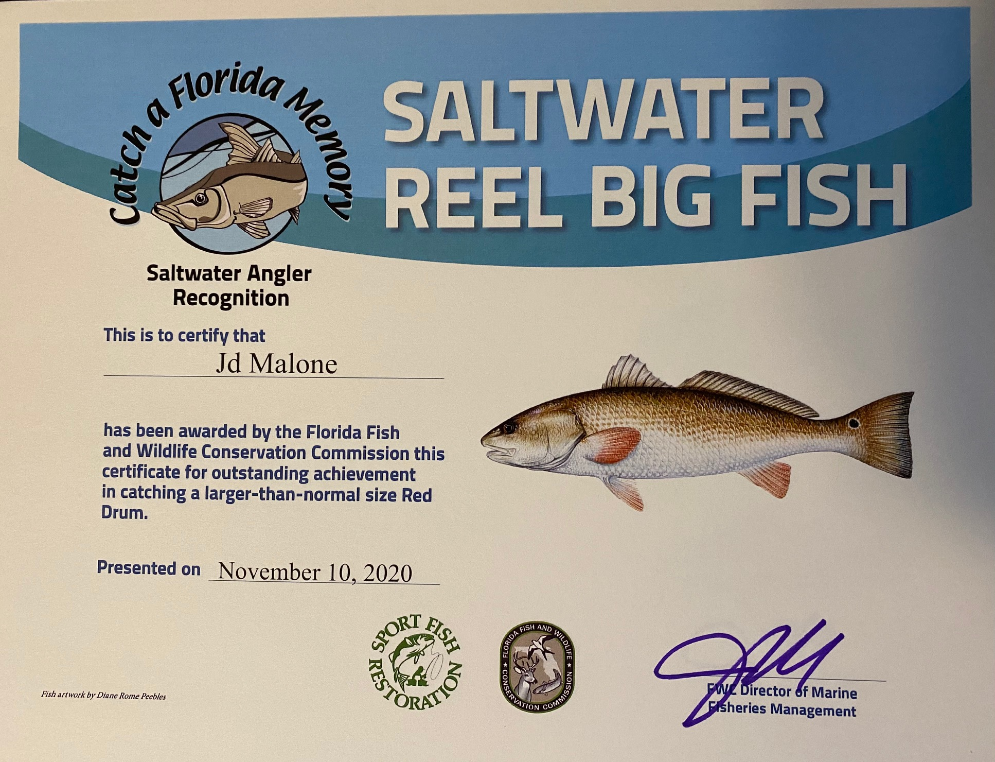 Saltwater Reel Big Fish Certificate for 41 inch redfish