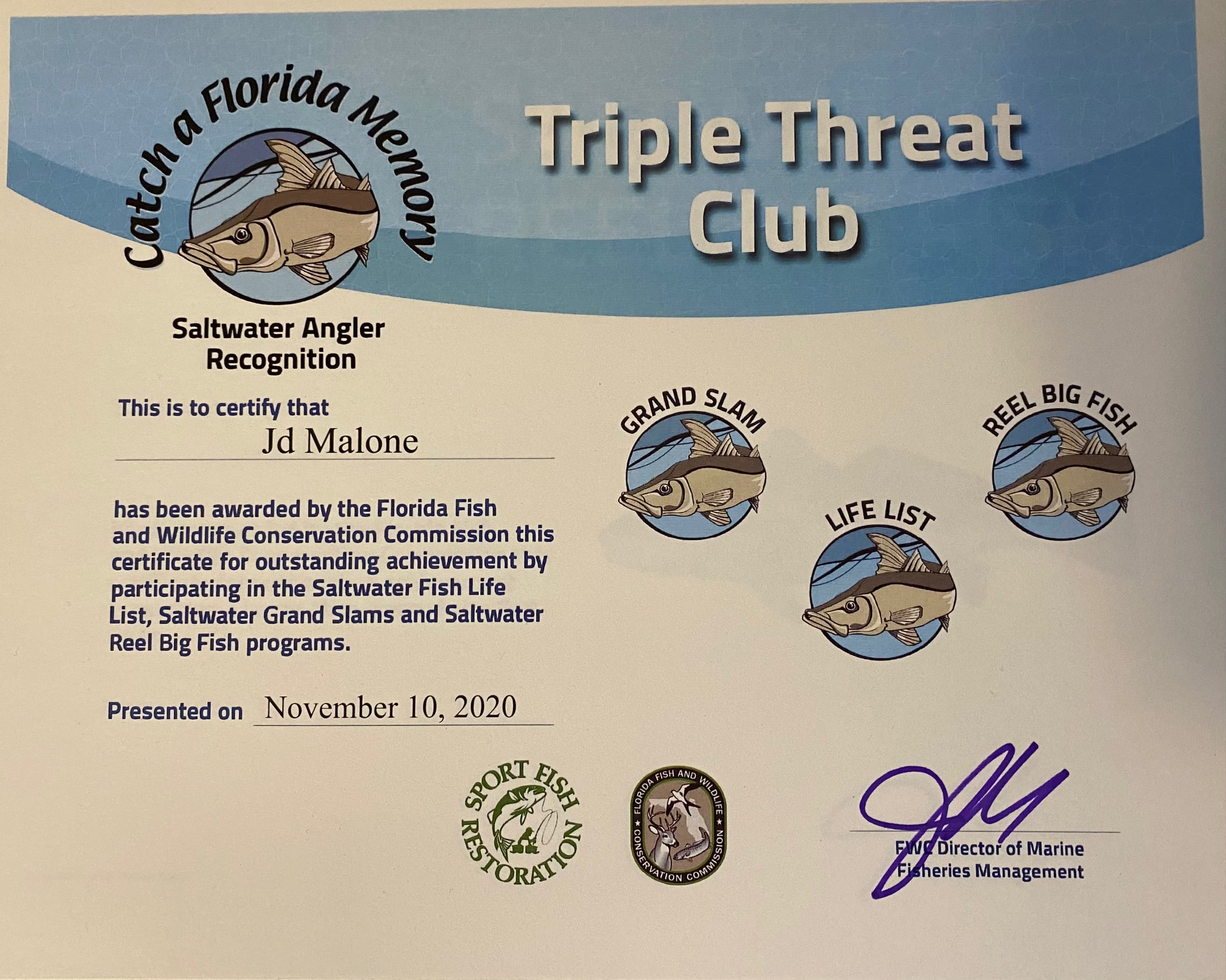 Triple Threat Club certificate from FWC Angler Recognition Program