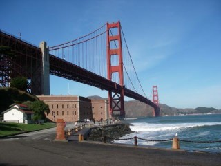 The Golden Gate Bridge viewed from the San Francisco Presidio
