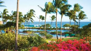 A view of the South Pacific from the gardens of the Grand Hyatt Kaua'i