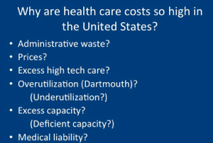 Suggested reasons for high costs of U. S. healthcare