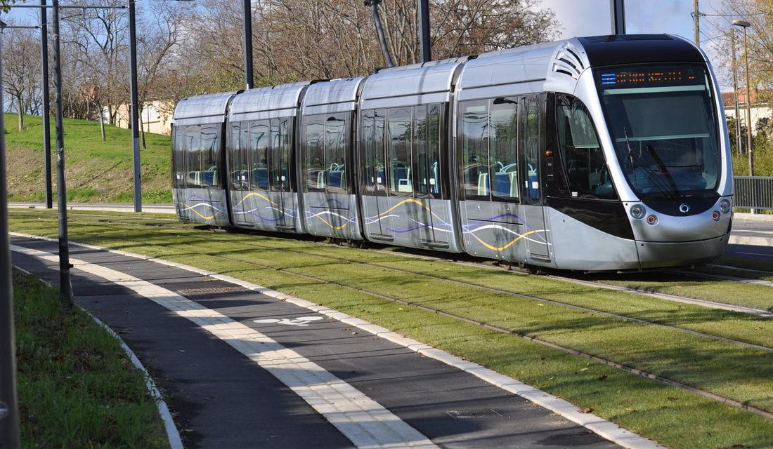 Light Rail vehicle on grassy track