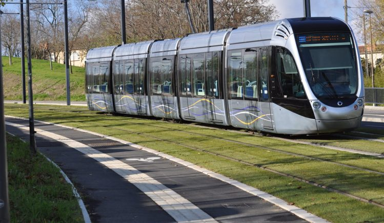 Light Rail vehicle on grassy track