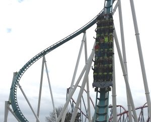 Fury 325 Dives Under Bridge - Carowinds Giga Roller Coaster - sm