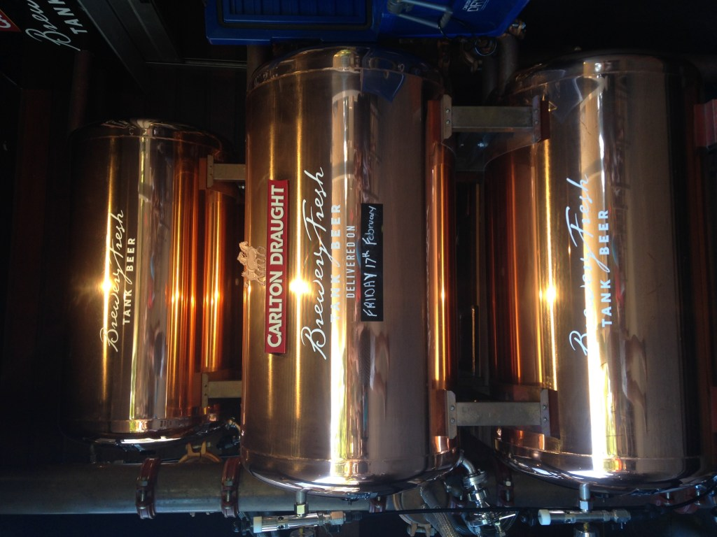 3 of the copper tanks at Brisbane's Plough Inn - the freshest beer in town!