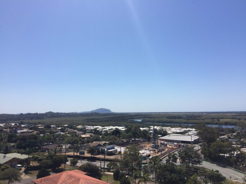 The view over to Mount Coolum from the top of Sunshine Castle