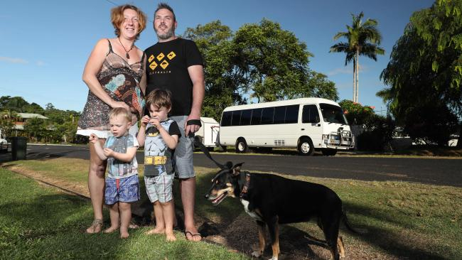 Our family in front of our bus, with our dog Bobby