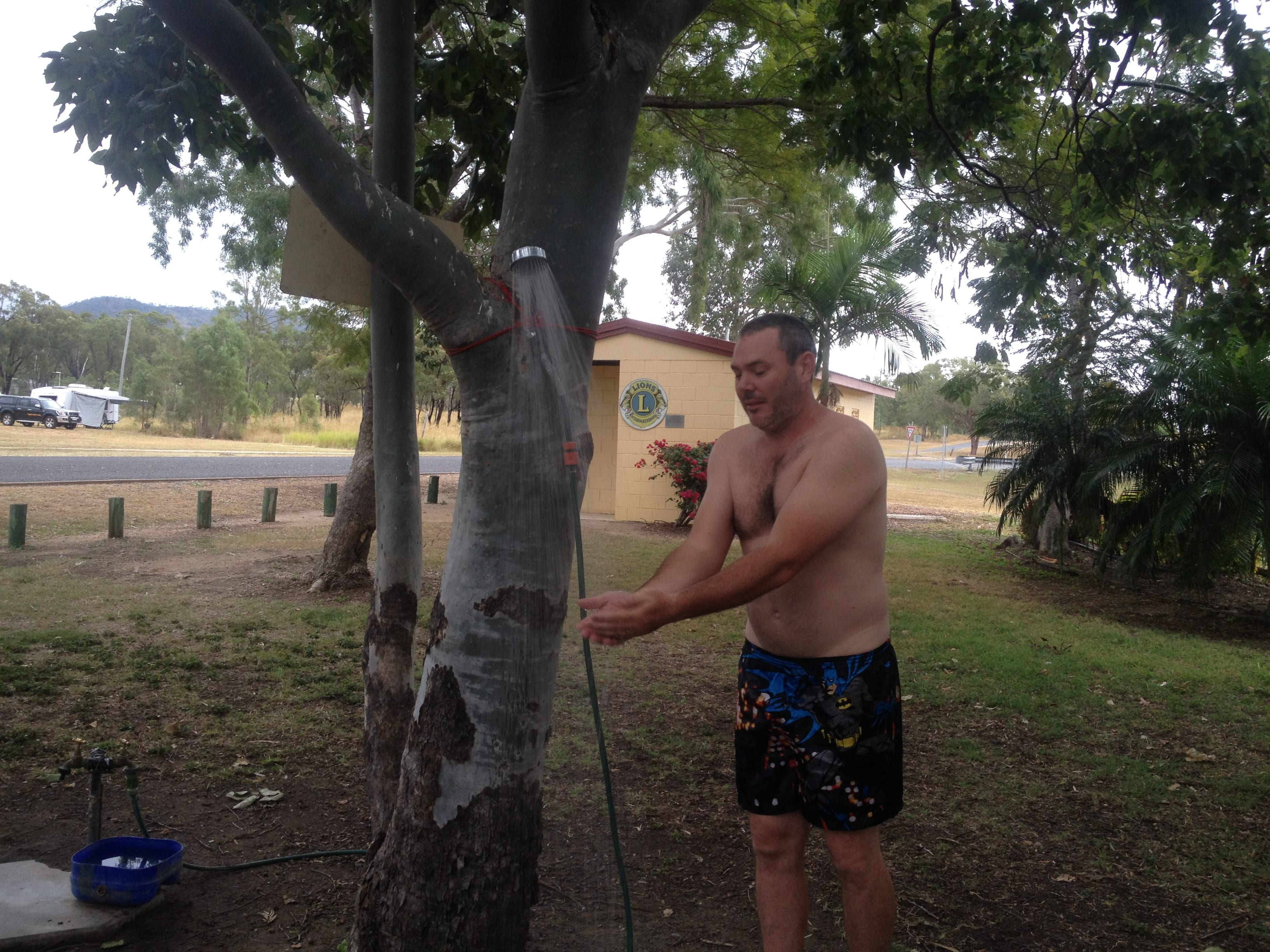 A shower hanging from a tree at a free camp in Australia found with Wikicamps