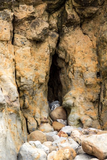 Cave in the bluff walls at Fitzgerald Marine reserve in Moss Beach. Dawn Page/CoastsideSlacking