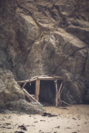 Creative drift wood structures at Garrapata State Beach. Dawn Page/CoastsideSlacking