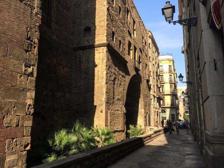 Walls of the old city, now the gothic quarter in Barcelona. You can see the different periods of wall construction and renovation in the building materials. Dawn Page / CoastsideSlacking