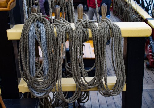 So many ropes on The Lady Washington, docked at Pillar Point Harbor. Dawn Page / CoastsideSlacking