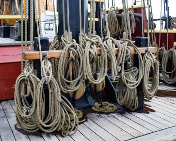 So many ropes on The Lady Washington, docked at Pillar Point Harbor. Dawn Page / CoastsideSlacking
