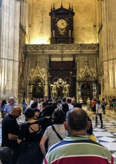 Line for the selfie mirror (not the Christopher Columbus tomb). Seville Cathedral. Andalusia, Spain. Dawn Page / CoastsideSlacking