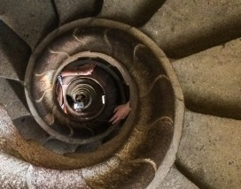 Handholds and selfies as we descend from the north tower at Sagrada Familia, Barcelona. Dawn Page/Coastside Slacking