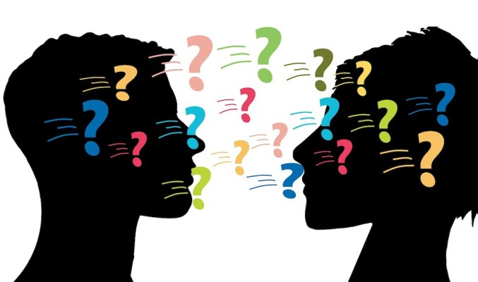 Image: male and female figures facing questions