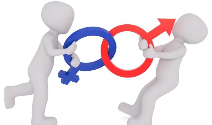 Image: Image: male and female figures tugging at interlinked symbols