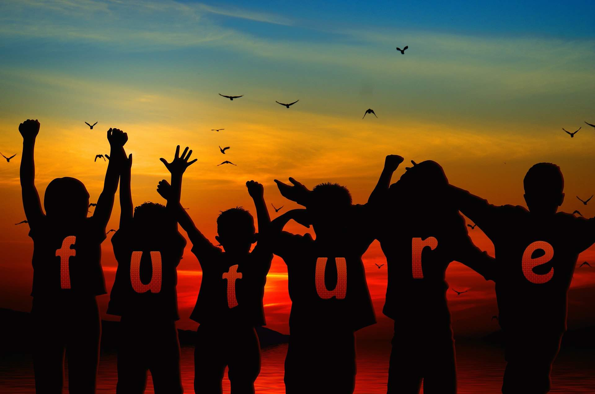 """Image: silhouettes of children saluting dawn with word """"future"""""""
