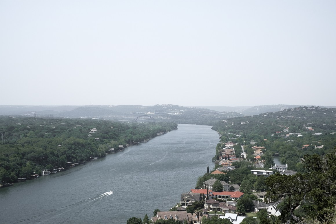 View of te Colorado River from the top of Mount Bonnell