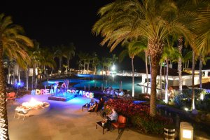 Nighttime view of the pool at the Dreams Hotel in Cabo San Lucas