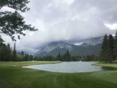 One of the scenic water hazards at the Kananaskis Golf Course, Alberta