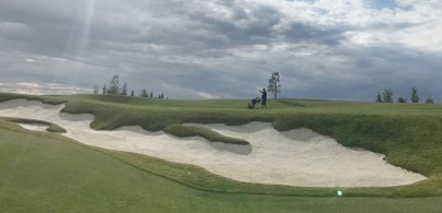 One of the many sand traps at Mickelson National