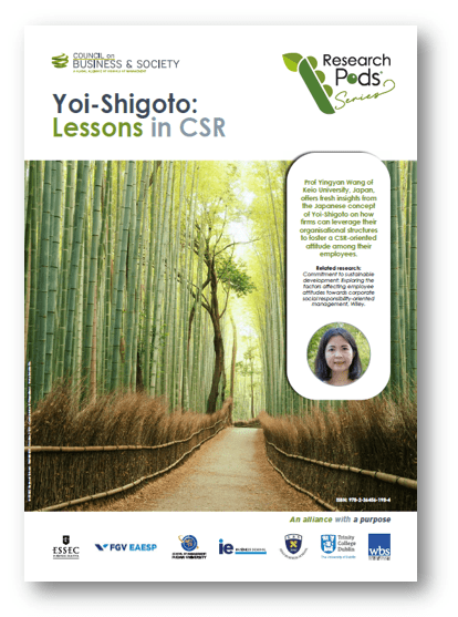 CoBS Research Pods: The Japanese concept of Yoi-Shigoto that encourages employee engagement in CSR.