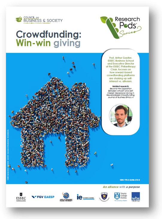 Crowdfunding: Win-win giving. Understand how crowdfunding works and find the right approach for entrepreneurs to pitch their innovations and for donators to place their funding using a win-win approach; Philanthropy; corporate giving; crowdfunding; win-win giving; donator strategies; seed funding; entrepreneur; entrepreneurship; start-ups; business ideas; innovation; hybrid giving; hybrid crowdfunding; Arthur Gautier; Tom Gamble; Council on Business & Society; ESSEC Philanthropy Chair; ESSEC Together;
