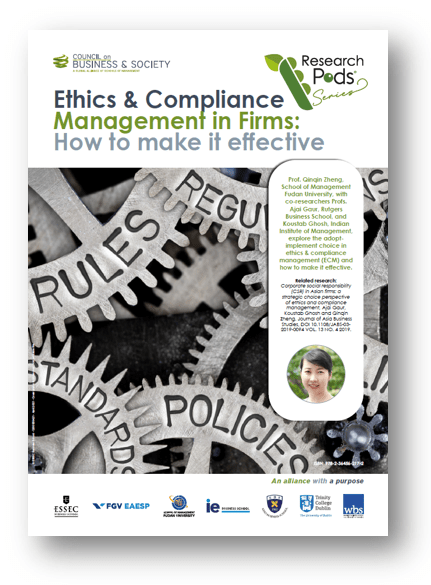 Qinqin Zheng. Explore the adopt-implement choice in ethics & compliance management and transfer best practice to your company in order to implement a solid and effective ethics and compliance management system.
