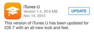Photo of iTunes U 1.4 com cara de iOS 7 na Área