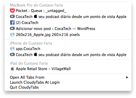 Photo of Abas Abertas do iCloud na Barra de Menus, Chrome e Alfred