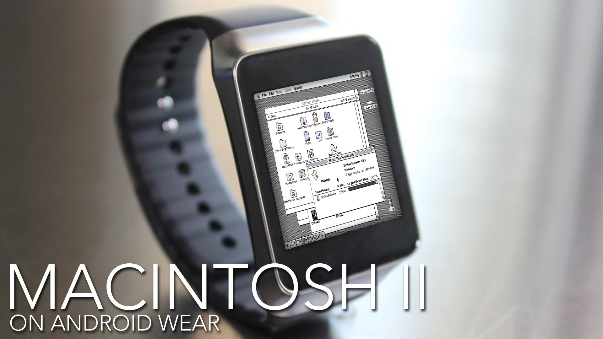 Photo of Macintosh System 6 rodando no Samsung Gear Live com Android Wear