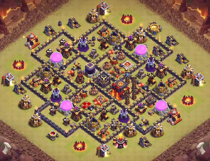 TH9 ANTI LAVALOON, WITCH AND VALK TH9 WAR BASE 2017