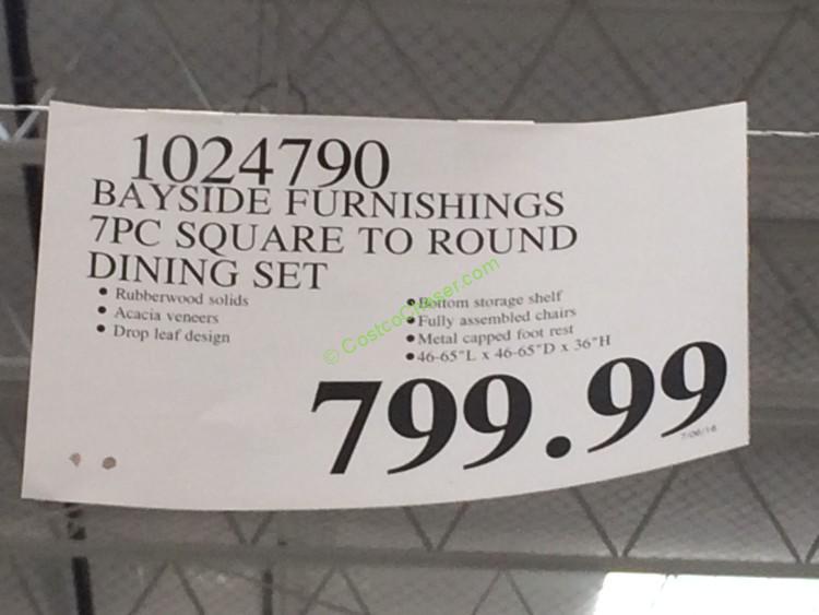 Bayside Furnishings 7PC Square To Round Dining Set