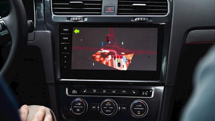 pantalla del coche autónomo de Volkswagen