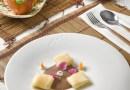 Raviolis de manzana con alubias y morcilla