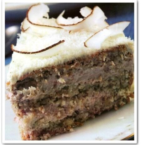 torta de coco y nuez