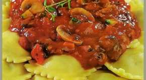 Ravioles de carne a la florentina
