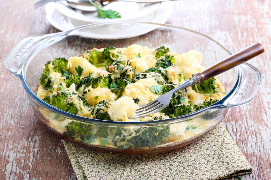 gratinado de brocoli y coliflor
