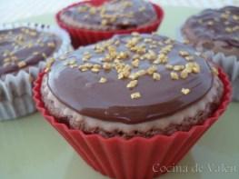 Cupcakes de Chocolate con topping de Nutella y azúcar dorado - Cocina de Valen